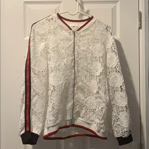 Red and navy blue floral lace jacket